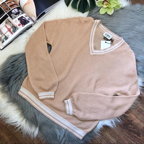 27 Miles Sweaters - 27 Miles Revolve Varsity Peach Lightweight Sweater